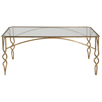 Lora 48 inch Antiqued Gold Leaf Coffee Table Home Decor