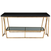 Agnes 40 inch Gold Leafed Iron and Black Granite Coffee Table Home Decor