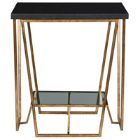 Agnes 22 inch Gold Leafed Iron and Black Granite End Table Home Decor