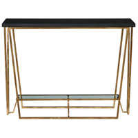 Agnes 40 inch Gold Leafed Iron and Black Granite Console Table Home Decor