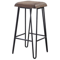 Albie 30 inch Aged Black and Natural Reclaimed Pine Bar Stool