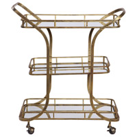 Stassi Antiqued Gold Serving Cart