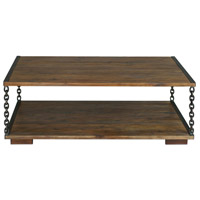Uttermost 25319 Jair 50 X 18 inch Walnut Stain and Antique Bronze Coffee Table