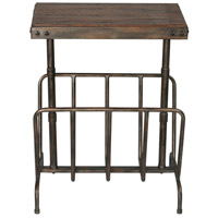 Uttermost 25326 Sonora 26 X 17 inch Burnished Brushed Iron and Distressed Warm Walnut Magazine Side Table thumb