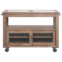 Wallace Honey Finished Pine and Aged Steel Serving Cart/Kitchen Island, Farmhouse