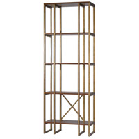 Uttermost 25347 Karishma 86 X 32 inch Brushed Antique Gold and Dark Walnut Etagere