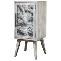 Iberia Distressed White and Antique Mirror Wine Cabinet