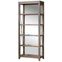 Uttermost 25434 Delancey 90 X 36 inch Weathered Oak and Antique Pewter Etagere