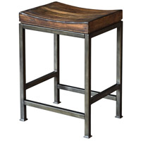 Beck 24 inch Dark Walnut and Brushed Steel Counter Stool
