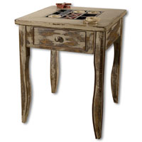 Uttermost Tictactoe End Table in Handpainted Solid Mango Wood 25536 photo thumbnail