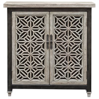 Branwen Light Gray Wash and Worn Industrial Accent Cabinet