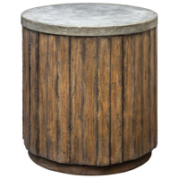 Maxfield 22 inch Vineyard Fruitwood and Pewter Accent Table Home Decor, Drum