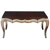 Uttermost 25784 Verena 44 X 20 inch Dark Mahogany and Antique Campagne Silver Leaf Coffee Table