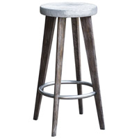 Maxen Dark Driftwood Gray and Aged Pewter Bar Stool Home Decor