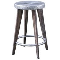 Maxen Dark Driftwood Gray and Aged Pewter Counter Stool Home Decor