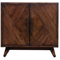 Liri Deep Mahogany and Antique Brass Accent Cabinet