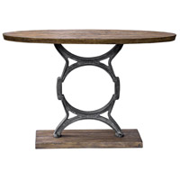 Wynn 48 inch Aged Steel and Light Walnut with Aged Gray Wash Console Table
