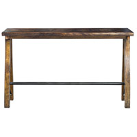 Westlyn Burnished Dark Walnut Stain and Aged Steel Bar Table