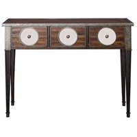 Uttermost 25977 Patten 42 inch Distressed Walnut and Iron with Antique Mirror Console Table Home Decor