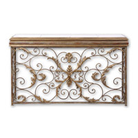 Uttermost Valonia Console Table in Antiqued Gold Leaf And Distressed Chestnut Brown 26104