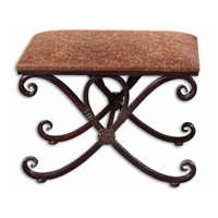 Manoj Dark Coffee Brown Metal Work Small Bench Home Decor