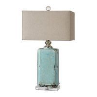 Adalbern 30 inch 150 watt Antiqued Crackle Blue Glaze Table Lamp Portable Light