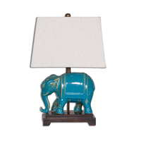 Pradesh 18 inch 100 watt Blue Ceramic Table Lamp Portable Light