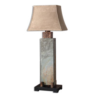 Uttermost 26308 Slate Tall 37 inch 100 watt The Base Is Made Of Real Hand Carved Slate Table Lamp Portable Light