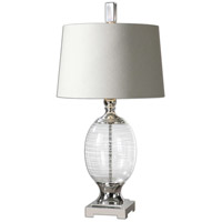 Uttermost Pateros Table Lamp in Clear Glass with White Swirls 26340