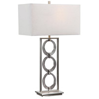 Uttermost 26364-1 Perrin 32 inch 150 watt Dark Gray Iridescent Art Glass and Brushed Nickel Table Lamp Portable Light