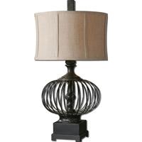 Uttermost 26463-1 Lipioni 31 inch 150 watt Rustic Black Table Lamp Portable Light