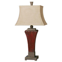 Uttermost Rosso 1 Light Table Lamp in Ribbed Ceramic 26465