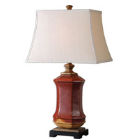 Uttermost Fogliano 1 Light Table Lamp in Red Ceramic 26497