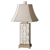 Uttermost Travertine Table Lamp in Travertine Stone and Antiqued Silver 26512 photo thumbnail