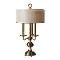 Uttermost Santina 3 Light Table Lamp in Brushed Brass 26580-1