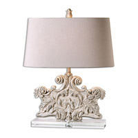 Uttermost 26658 Schiavoni 25 inch 150 watt Ivory Table Lamp Portable Light thumb