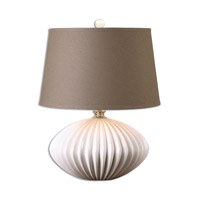 Uttermost Gloss White Fabric Table Lamps