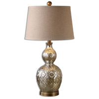 Uttermost 26675-2 Diondra 29 inch 150.00 watt Mottled Mercury Glass with Antiqued Brass Table lamps Portable Light, Set of 2