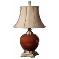 Daviel 31 inch 150 watt Cinnamon Red Porcelain Table Lamp Portable Light
