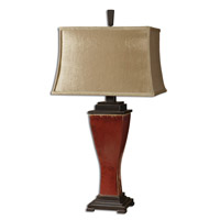 Uttermost Abiona Table Lamp in Distressed Burnished Red Glaze 26740