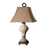 Uttermost Fobello Table Lamp in Distressed Crackled Ivory Ceramic 26785