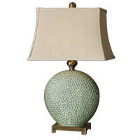 Uttermost 26807 Destin 29 inch 150 watt Dripping Aquamarine Glaze Table Lamp Portable Light