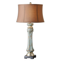 Deniz 35 inch 150 watt Antiqued Crackled Blue Ceramic Table Lamp Portable Light