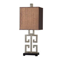 Uttermost Greek Key Table Lamp in Lightly Antiqued Silver Champagne Leaf 26859-1