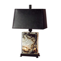 Marius 30 inch 100 watt Black Brown And Ivory Marble Table Lamp Portable Light