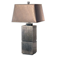 Uttermost Zara Table Lamp in Lightly Antiqued Embossed Tin 26975 photo thumbnail