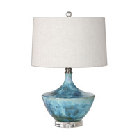 Chasida 23 inch 150 watt Blue Ceramic Lamp Portable Light