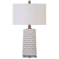 Uttermost 27142-1 Sesia 31 inch 150 watt White Honeycomb Table Lamp Portable Light