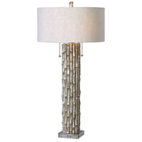 Uttermost 27177-1 Silver Bamboo 32 inch 60 watt Silver Bamboo Table Lamp Portable Light