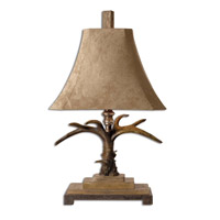 Stag Horn 32 inch 100 watt Natural Brown And Ivory Toned Table Lamp Portable Light